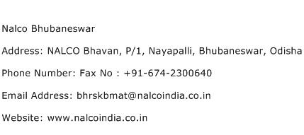 Nalco Bhubaneswar Address Contact Number