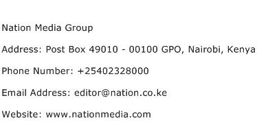 Nation Media Group Address Contact Number