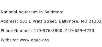 National Aquarium in Baltimore Address Contact Number