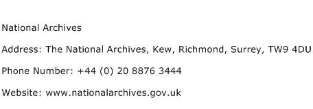 National Archives Address Contact Number