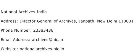 National Archives India Address Contact Number