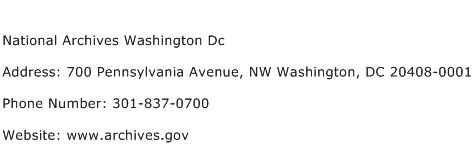 National Archives Washington Dc Address Contact Number