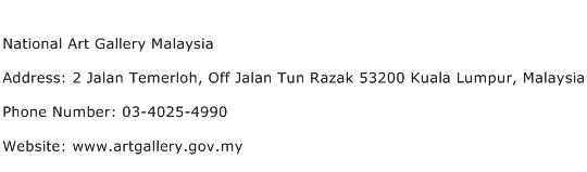 National Art Gallery Malaysia Address Contact Number