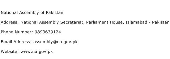 National Assembly of Pakistan Address Contact Number