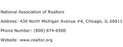 National Association of Realtors Address Contact Number