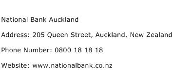 National Bank Auckland Address Contact Number