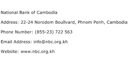 National Bank of Cambodia Address Contact Number