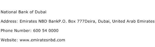 National Bank of Dubai Address Contact Number
