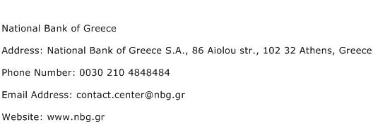 National Bank of Greece Address Contact Number