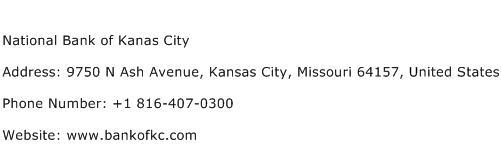 National Bank of Kanas City Address Contact Number