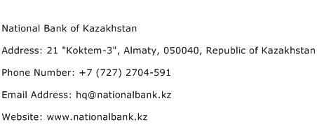 National Bank of Kazakhstan Address Contact Number