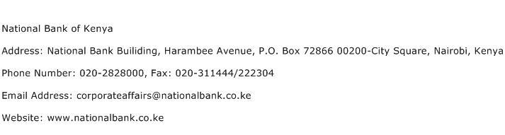 National Bank of Kenya Address Contact Number