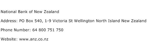 National Bank of New Zealand Address Contact Number