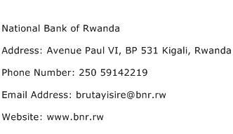 National Bank of Rwanda Address Contact Number