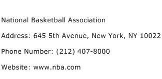 National Basketball Association Address Contact Number
