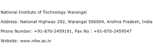 National Institute of Technology Warangal Address Contact Number