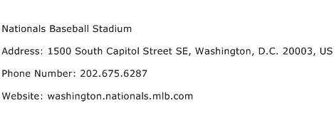 Nationals Baseball Stadium Address Contact Number