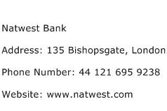Natwest Bank Address Contact Number