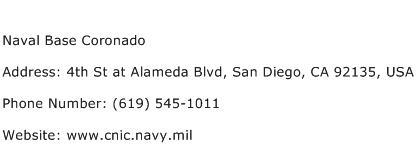 Naval Base Coronado Address Contact Number