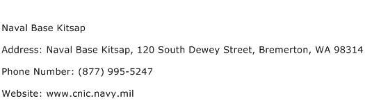 Naval Base Kitsap Address Contact Number