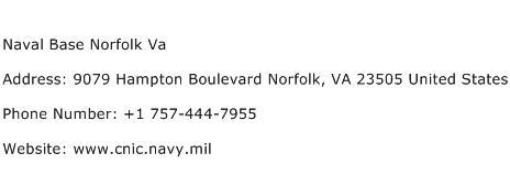 Naval Base Norfolk Va Address Contact Number
