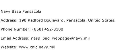 Navy Base Pensacola Address Contact Number