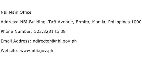 Nbi Main Office Address Contact Number