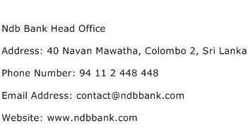Ndb Bank Head Office Address Contact Number