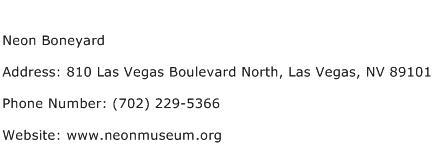 Neon Boneyard Address Contact Number