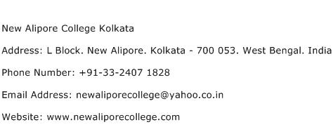 New Alipore College Kolkata Address Contact Number