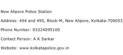 New Alipore Police Station Address Contact Number
