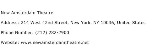 New Amsterdam Theatre Address Contact Number