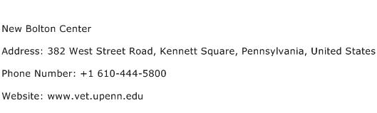 New Bolton Center Address Contact Number