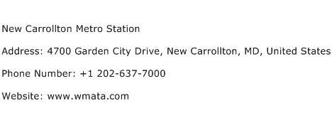 New Carrollton Metro Station Address Contact Number