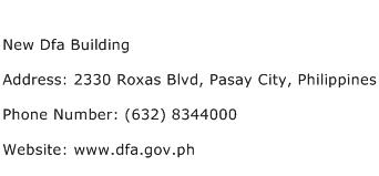 New Dfa Building Address Contact Number