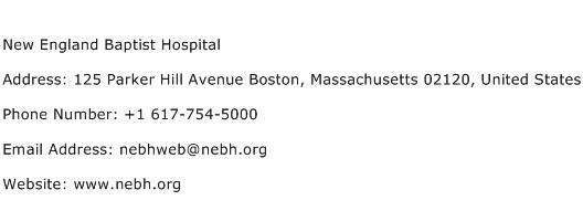 New England Baptist Hospital Address Contact Number