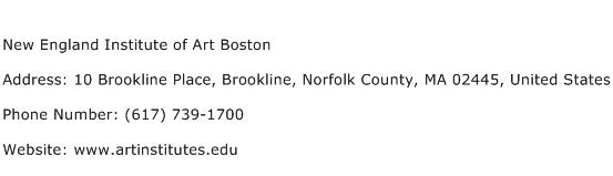 New England Institute of Art Boston Address Contact Number