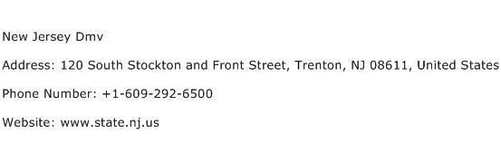 New Jersey Dmv Address Contact Number