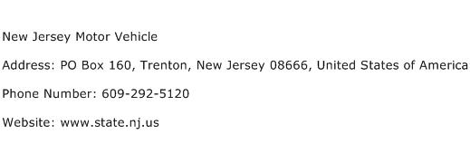 New Jersey Motor Vehicle Address Contact Number