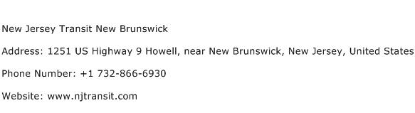 New Jersey Transit New Brunswick Address Contact Number