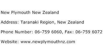 New Plymouth New Zealand Address Contact Number
