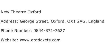 New Theatre Oxford Address Contact Number