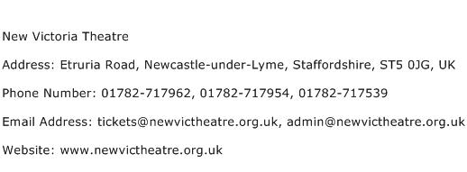 New Victoria Theatre Address Contact Number