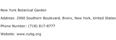 New York Botanical Garden Address Contact Number