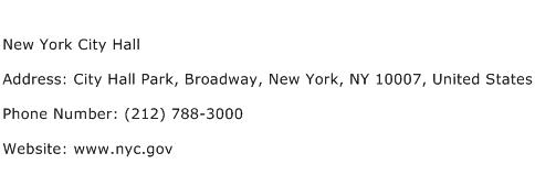 New York City Hall Address Contact Number