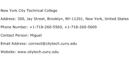 New York City Technical College Address Contact Number