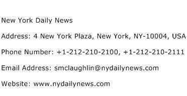 New York Daily News Address Contact Number
