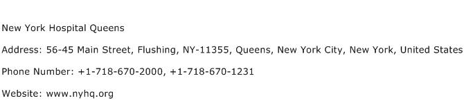 New York Hospital Queens Address Contact Number