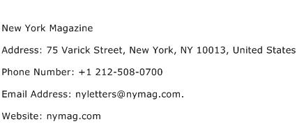 New York Magazine Address Contact Number