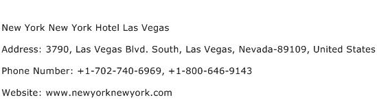 New York New York Hotel Las Vegas Address Contact Number